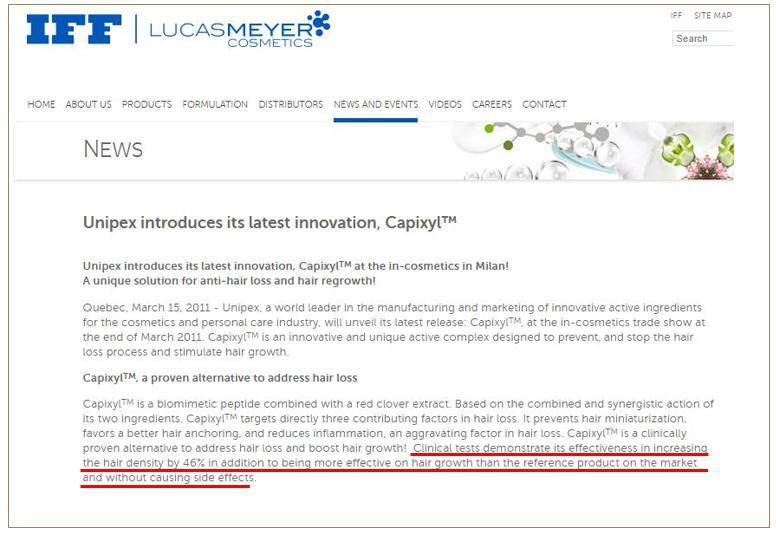 キャピキシルを開発したカナダの製薬会社「LUCAS MEYER COSMETICS社」が副作用が無いと公表している文献